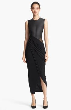 Collection Sleeveless Leather Jersey Dress - Lyst
