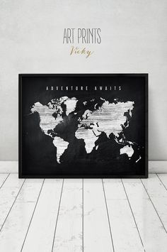 Wanderlust travel map world map watercolor print world map poster wanderlust travel map world map watercolor print world map poster blue tones with faux gold text wedding guest book artprintsvicky travel maps gumiabroncs Image collections