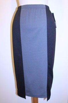 Mossimo Skirt XS Black Charcoal Gray Colorblock Stretch Midi Pencil Skirt #Mossimo #StraightPencil