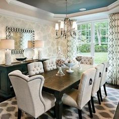 Stunning Transitional Dining Room Furniture Transitional Dining Room Design Ideas Remodels Photos With in Home Interior Design Reference Room Wallpaper Designs, Dining Room Wallpaper, Dining Room Wall Decor, Dining Room Sets, Dining Room Design, Dining Room Furniture, Dining Chairs, Wingback Chairs, Room Chairs