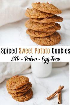Spiced Sweet Potato Cookies (AIP/Paleo) * Lichen Paleo, Loving AIP Paleo Cookie Recipe, Paleo Cookies, Gluten Free Cookies, Aip Recipe, Paleo Dessert, Healthy Sweets, Dessert Recipes, Desserts, Paleo Baking