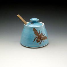 Blue glazed honey pot with bees buzzing by emilymurphy on Etsy, $50.00