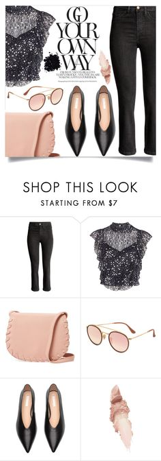 """""""Go your own way"""" by alaria ❤ liked on Polyvore featuring TFNC, Cynthia Rowley, Ray-Ban, Maybelline and ruffledtops"""
