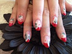 Acrylic nails with red tips and one stroke flowers