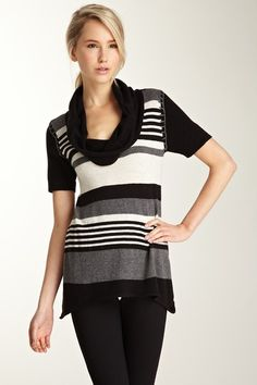 Striped Cowl Neck Sweater on HauteLook