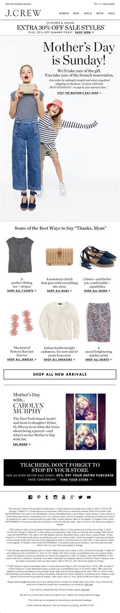 J. Crew Mother's Day email 2016 Email Marketing Design, Email Design, Web Design, Graphic Design, Mother's Day Banner, Mother's Day Background, Carolyn Murphy, Fashion Banner, Cool Outfits