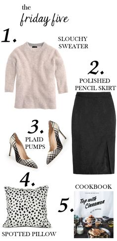 the friday five via M Loves M featuring J.Crew sloucy sweater, python-jacquard pencil skirt from Altuzarra, plaid Manolo Blahnik pumps, Furbish black and white spotted pillow and Top with Cinnamon cookbook @marmar