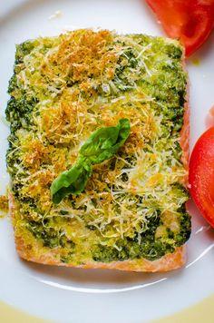 Salmon Pesto on a plate.