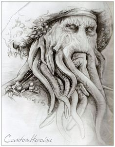 The wonderful face of Davy Jones. The Dutchman's Captain Sketches, Funny Sketches, Art Drawings, Lion Sculpture, Disney Art, Davy Jones, Art, Dark Art, Art Sketches