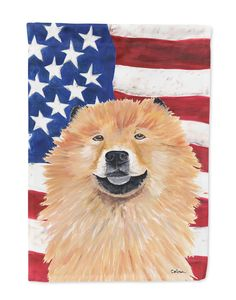 USA American Flag with Chow Chow Flag Garden Size