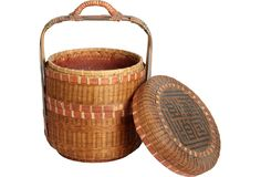 Vintage octagonal Chinese food basket with two tiers and traditional late Qing Dynasty motif.