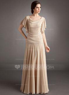 Corte A/Princesa Cuello vuelto Vestido Chifón Vestido de madrina con Volantes Abalorios (008006185)