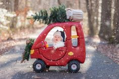 f you want to impress your family and friends (and melt some hearts), Clearly Perceived Photography has the photo idea for you. Fetch a mini Christmas tree, grab the baby car and create your own little slice of holiday magic that everyone will be talking about for years to come.
