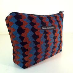 CLUTCH. Cosmetic purse. Makeup case. Blue red black by slaintebags, $36.00