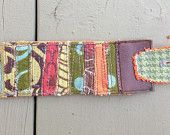 fabric collage textile art hippie boho cuff