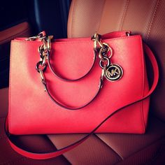 red fashion style luxury bag girly Leather michael kors handbag fcx