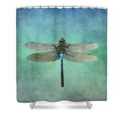 """Blue Dragonfly Shower Curtain for sale by Inspired Arts.  This shower curtain is made from 100% polyester fabric and includes 12 holes at the top of the curtain for simple hanging.  The total dimensions of the shower curtain are 71"""" wide x 74"""" tall."""