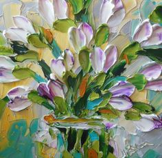 Oil Painting White with Purple Tulips | IronsideImpastos. Materials: impasto oil, palette knife, oil painting, canvas - Jan Ironside