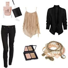 polyvore outfits nude -  #bulovabaselworld  This would be cute, but with bootcut jeans. I don't like skinny jeans, ever!