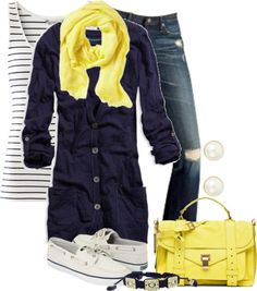 """Yellow and Navy"" by lagu on Polyvore"