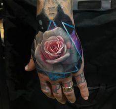 Rose Hand Tattoo, Realistic Pink & White Flower | Best tattoo ideas & designs