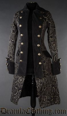 This high quality coat was inspired by pirates and officers, and is made in a rich, gold and black cotton jacquard which we custom made. The detailing is woven over the base material, creating a thick brocade fabric Steampunk Jacket, Style Steampunk, Steampunk Clothing, Gypsy Clothing, Gothic Steampunk, Steampunk Fashion, Steampunk Necklace, Pirate Jacket, Royal Pirates