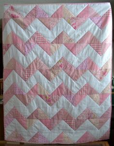 Minkee backed Baby Quilt Chevron Pattern Made to Order in YOUR Nursery Colors on Etsy, $110.72