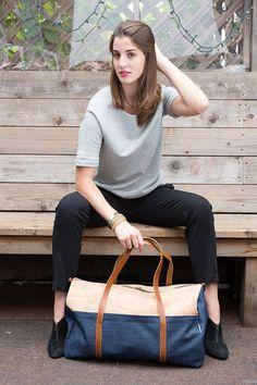Cork and Denim Weekender Bag/ Unisex Duffle Bag/ by SpicerBags