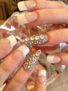 White French with Swarovski crystal nail art