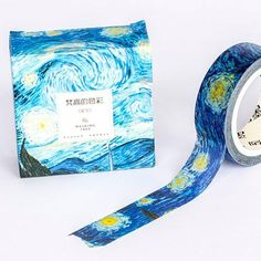 One of Vincent Van Gogh's most recognizable pieces, one of his Starry Nights is beautifully rendered onto this high quality washi tape, made in Japan. A true roll of beauty, this is a way of seeing Van Gogh that is new to many and pleasing to all Washi Tape Planner, Washi Tape Cards, Masking Tape, Washi Tapes, Washi Tape Notebook, Cute Stationary, Duct Tape Crafts, Cute School Supplies, Kawaii Stationery