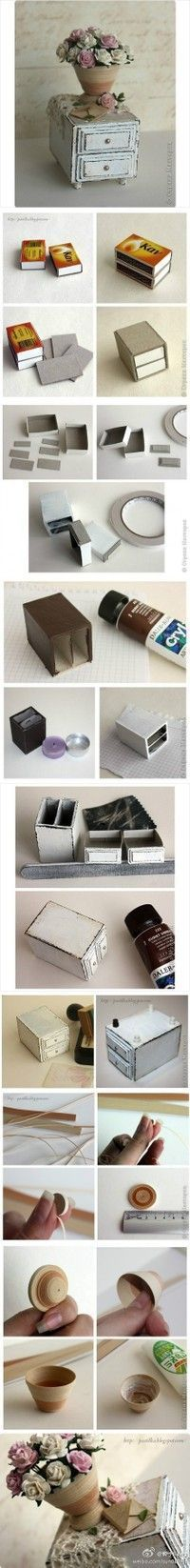"""How could people be so creative!!!??? [ """"Miniature two drawer side table from match boxes!"""", """"Doll house DIY night stand out of matchboxes!"""", """"Clever (easy diy )way to make a little table with drawer. Use more match boxes and create a larger size table. Great for dollhouse."""", """"Miniature Matchbox Drawer and Vase - I need to do this. I LOVE miniatures."""", """"How to make a mini nightstand from matchboxes. No words just pictures"""" ] #"""