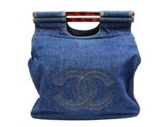 CHANEL/シャネル鼈甲ハンドルデニムハンドバッグ CHANEL Hedy Vintage Bags, Drink Sleeves