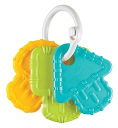 Made from recycled milk jugs! Re-Play's successful feeding line has been expanded to Teething Keys! White locking ring securely holds 3 Keys in 3 bold colors and 3 unique shapes, all made from recycle Free Recycle, Natural Teething Remedies, Thing 1, Baby Teethers, Baby Games, Baby Play, Replay, Toddler Toys, Kids Playing