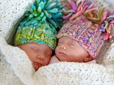 I think I know these twins!!! NEWBORN Photography Prop  Baby Knit Hat  Twin by knitwitwoolies, $30.00
