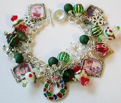 Winter Christmas Holiday Colorful Silver Tone Link Chain Charm Bracelet | eBay