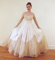 Vintage 1950s Wedding Dress in Ivory Satin and by BasyaBerkman, $368.00