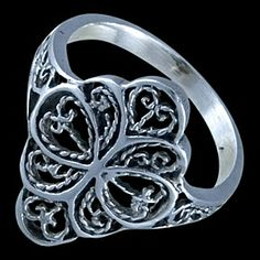 Silver ring, flower Silver ring, Ag 925/1000 - sterling silver. A richly carved, delicate ring in the shape of a blooming flower.