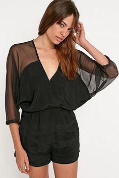 Light Before Dark Surplice Playsuit in Black - Urban Outfitters