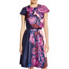 Ted Baker Eabha Paisley Crop Top - Bloomingdale's Exclusive ($195) ❤ liked on Polyvore featuring tops, navy, navy blue crop top, ted baker, short sleeve tops, short sleeve crop top and navy tops