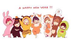 (*) monsta x Kawaii Drawings, Cute Drawings, K Pop, Monsta X Wonho, Shownu, Hyungwon, Kihyun, Funny Kpop Memes, Bts Chibi