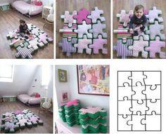 Juego didactico de tela, ronpecabezas, almohadones y alfombra de tela,