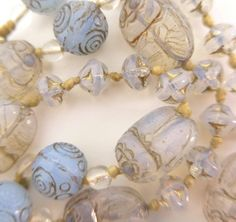 VINTAGE CZECH EGYPTIAN REVIVAL NEIGER BLUE OPALINE SCARAB GLASS BEAD NECKLACE
