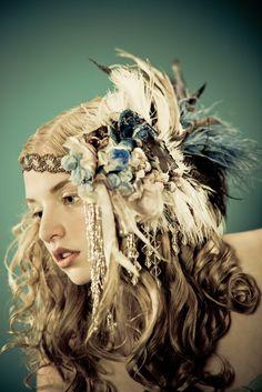 Kat Swank Custom Headdress Headband- Heirloom quality, wearable textile art- Your colors. LIAISON Like this. Upcycled Vintage, Vintage Lace, Maquillage Halloween, Up Girl, Headdress, Boho Headpiece, Headpiece Jewelry, Feather Headband, Headgear