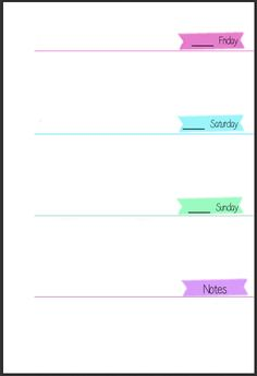 MsWenduhh Planning & Printing: Pastel Colored Week on Two Pages Filofax Inserts - Free Download