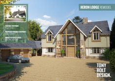 Tony Holt Design : Self Build - Remodel of Existing Bungalow into Luxury Lodge Style House in Woodland Setting Bungalow Extensions, House Extensions, Bungalow Conversion, Dormer Bungalow, Bungalow Renovation, Bungalow Homes, Dream House Exterior, Mansions Homes, House Front