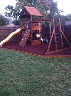 This is what we did in the backyard!  It eliminates the constant patches under the swings that  WILL NOT grow grass!  I love it!
