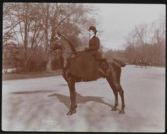 Gilded Age lady, horseback in Central Park, NYC