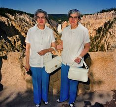 Twins with Matching Outfits at Lower Falls Overlook, Yellowstone National Park, WY 1980