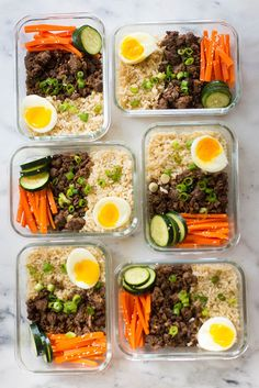 Overhead view of the meal prep korean beef bowls, filled with steamed brown rice, korean ground beef, medium boiled egg, Lunch Meal Prep, Easy Meal Prep, Healthy Meal Prep, Easy Healthy Recipes, Healthy Snacks, Easy Meals, Keto Meal, Fitness Meal Prep, Clean Eating Snacks