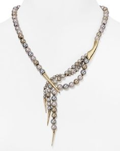 Alexis Bittar Miss Havisham Faux Pearl Spear-Capped Necklace, 20""